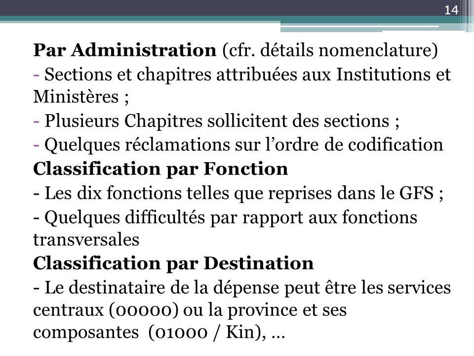 Par Administration (cfr. détails nomenclature) - Sections et chapitres attribuées aux Institutions et Ministères ; - Plusieurs Chapitres sollicitent d