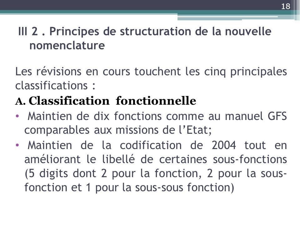 III 2. Principes de structuration de la nouvelle nomenclature Les révisions en cours touchent les cinq principales classifications : A. Classification