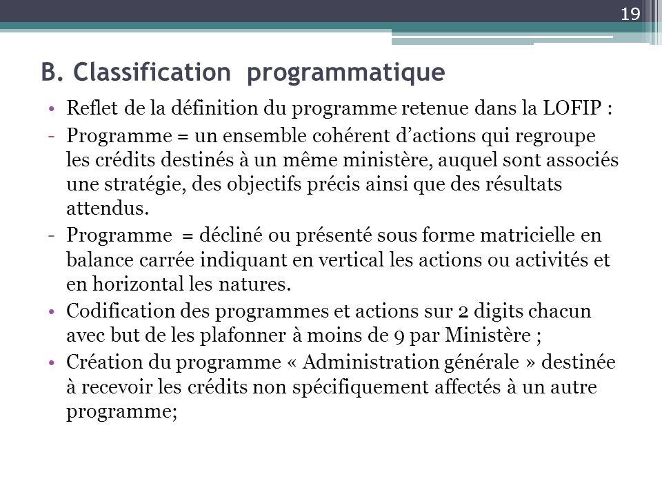 B. Classification programmatique Reflet de la définition du programme retenue dans la LOFIP : -Programme = un ensemble cohérent dactions qui regroupe