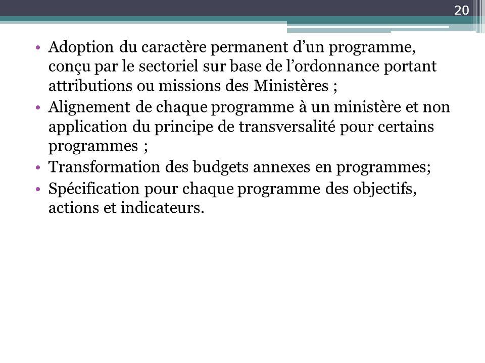 Adoption du caractère permanent dun programme, conçu par le sectoriel sur base de lordonnance portant attributions ou missions des Ministères ; Aligne