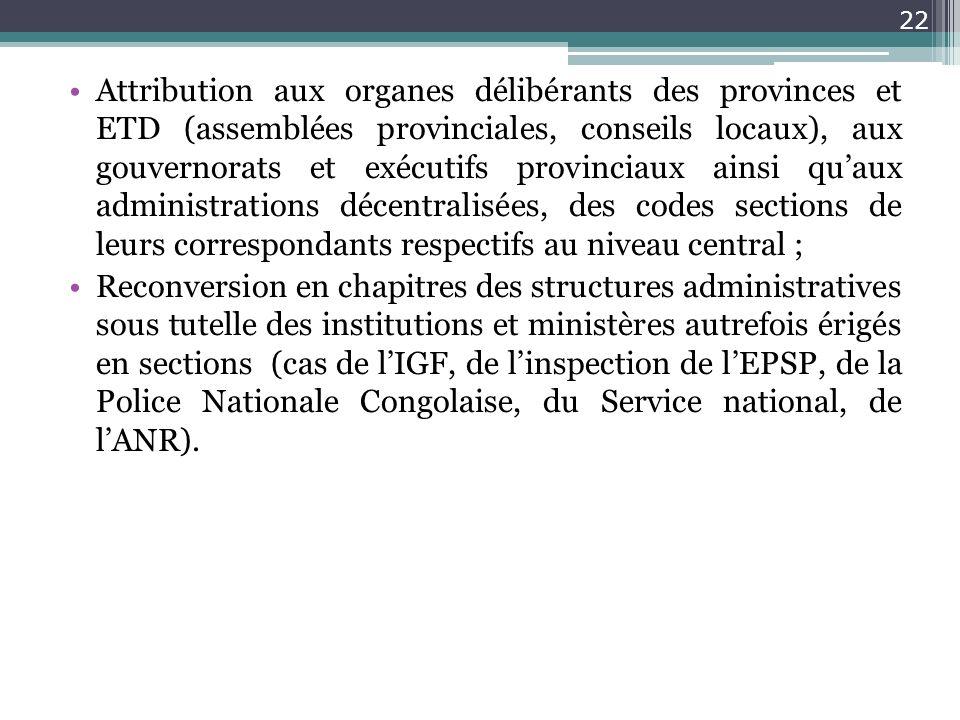 Attribution aux organes délibérants des provinces et ETD (assemblées provinciales, conseils locaux), aux gouvernorats et exécutifs provinciaux ainsi q