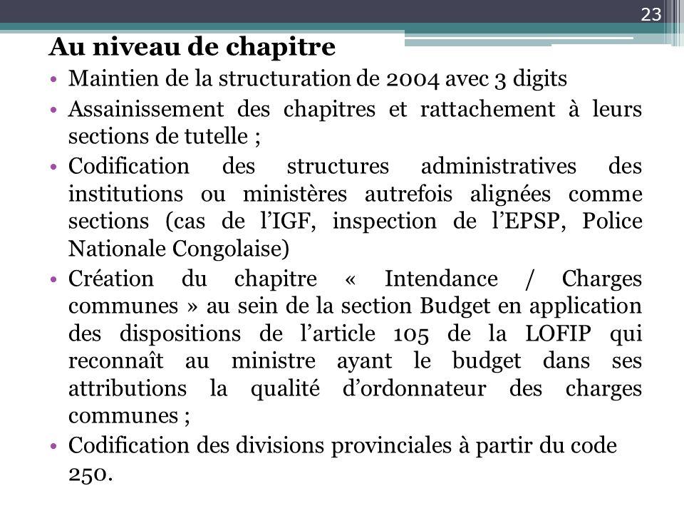 Au niveau de chapitre Maintien de la structuration de 2004 avec 3 digits Assainissement des chapitres et rattachement à leurs sections de tutelle ; Co