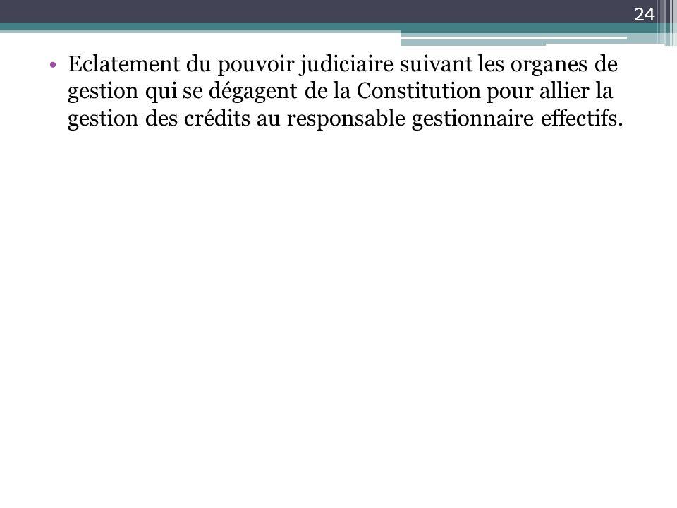 Eclatement du pouvoir judiciaire suivant les organes de gestion qui se dégagent de la Constitution pour allier la gestion des crédits au responsable g