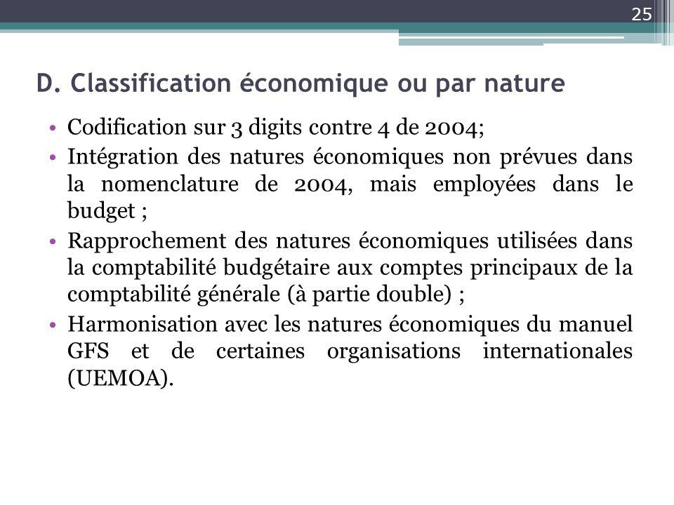 D. Classification économique ou par nature Codification sur 3 digits contre 4 de 2004; Intégration des natures économiques non prévues dans la nomencl