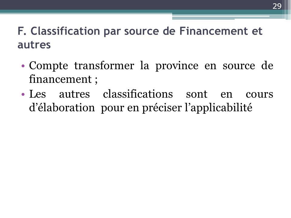 F. Classification par source de Financement et autres Compte transformer la province en source de financement ; Les autres classifications sont en cou