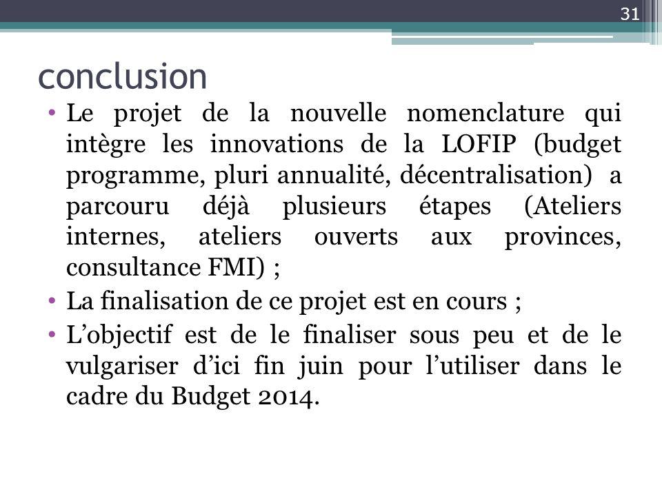 conclusion Le projet de la nouvelle nomenclature qui intègre les innovations de la LOFIP (budget programme, pluri annualité, décentralisation) a parco