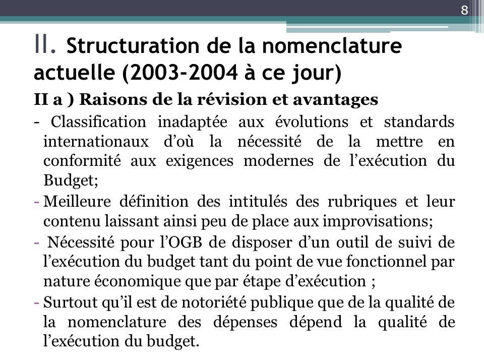 II. Structuration de la nomenclature actuelle (2003-2004 à ce jour) II a ) Raisons de la révision et avantages - Classification inadaptée aux évolutio