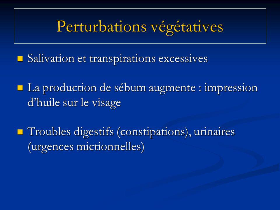 Perturbations végétatives Salivation et transpirations excessives Salivation et transpirations excessives La production de sébum augmente : impression