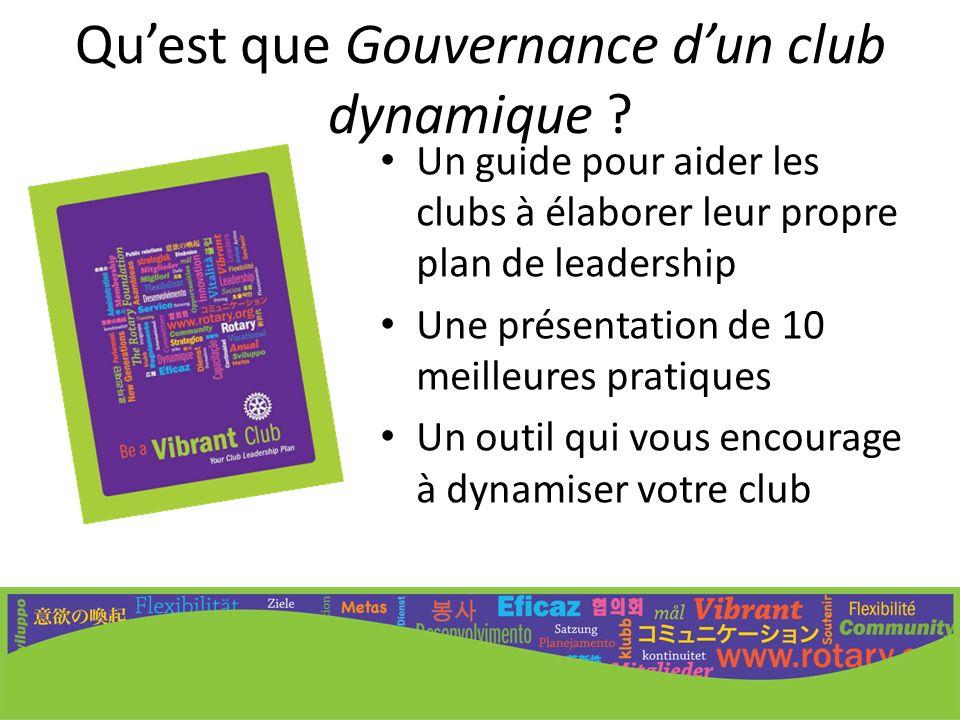 Un guide pour aider les clubs à élaborer leur propre plan de leadership Une présentation de 10 meilleures pratiques Un outil qui vous encourage à dyna