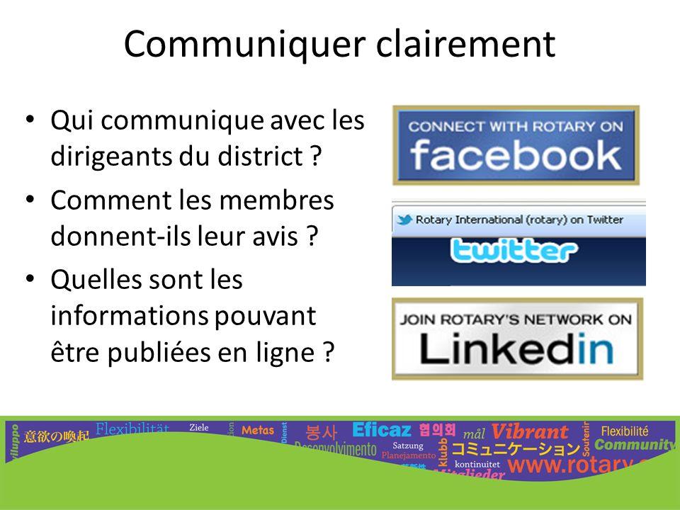 Communiquer clairement Qui communique avec les dirigeants du district ? Comment les membres donnent-ils leur avis ? Quelles sont les informations pouv