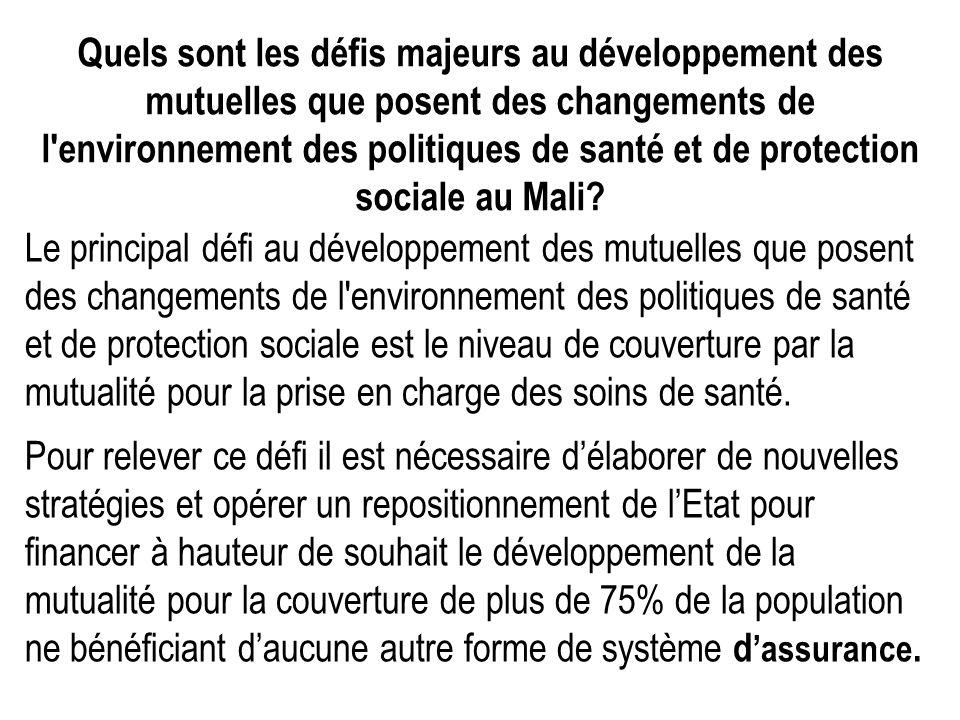 Quels sont les défis majeurs au développement des mutuelles que posent des changements de l'environnement des politiques de santé et de protection soc