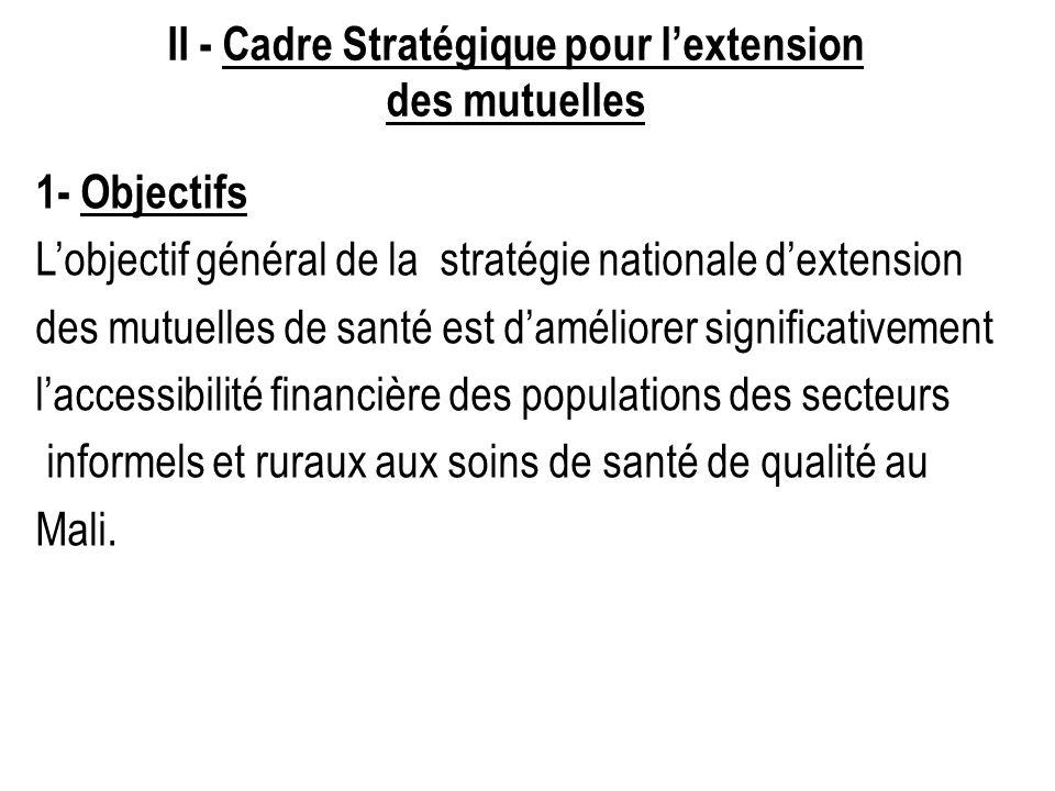 II - Cadre Stratégique pour lextension des mutuelles 1- Objectifs Lobjectif général de la stratégie nationale dextension des mutuelles de santé est da