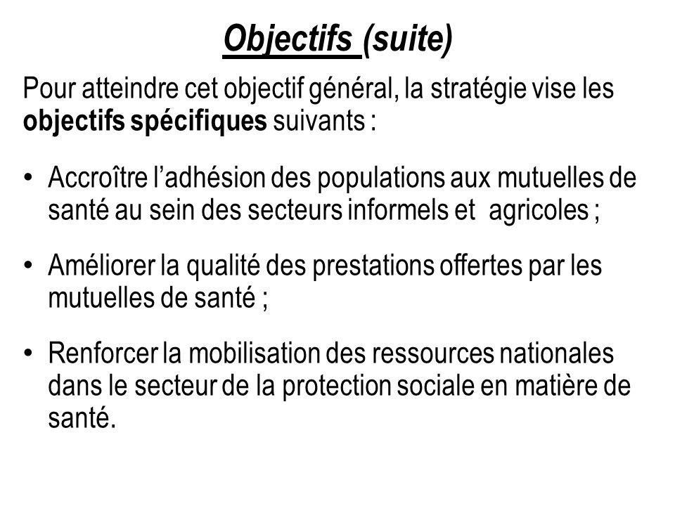 Objectifs (suite) Pour atteindre cet objectif général, la stratégie vise les objectifs spécifiques suivants : Accroître ladhésion des populations aux