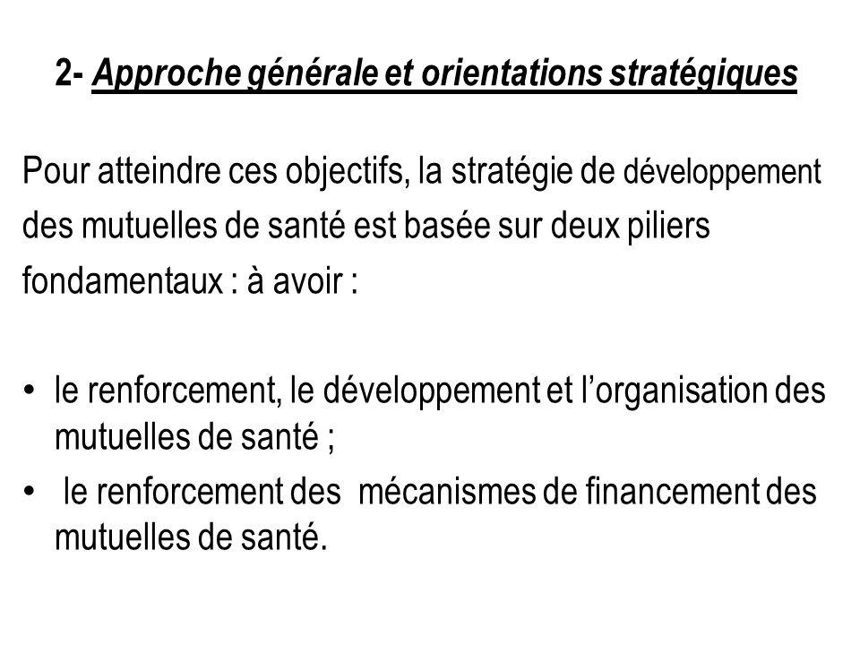 2- Approche générale et orientations stratégiques Pour atteindre ces objectifs, la stratégie de développement des mutuelles de santé est basée sur deu
