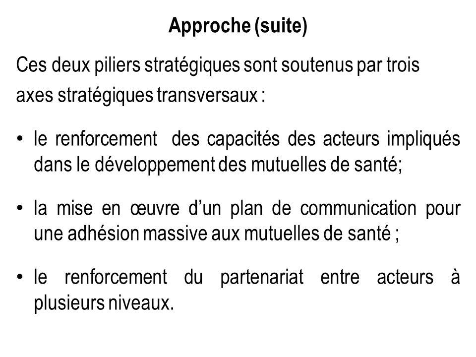 Approche (suite) Ces deux piliers stratégiques sont soutenus par trois axes stratégiques transversaux : le renforcement des capacités des acteurs impl