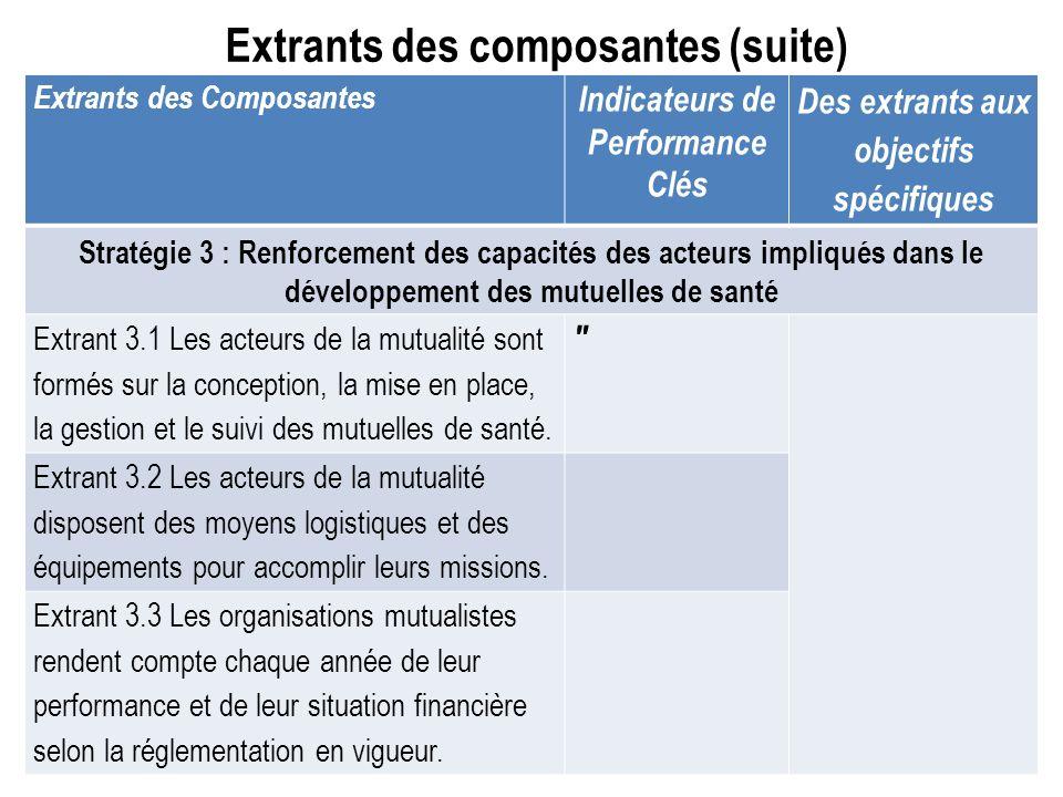 Extrants des composantes (suite) Extrants des Composantes Indicateurs de Performance Clés Des extrants aux objectifs spécifiques Stratégie 3 : Renforc