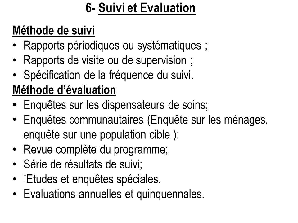 6- Suivi et Evaluation Méthode de suivi Rapports périodiques ou systématiques ; Rapports de visite ou de supervision ; Spécification de la fréquence d