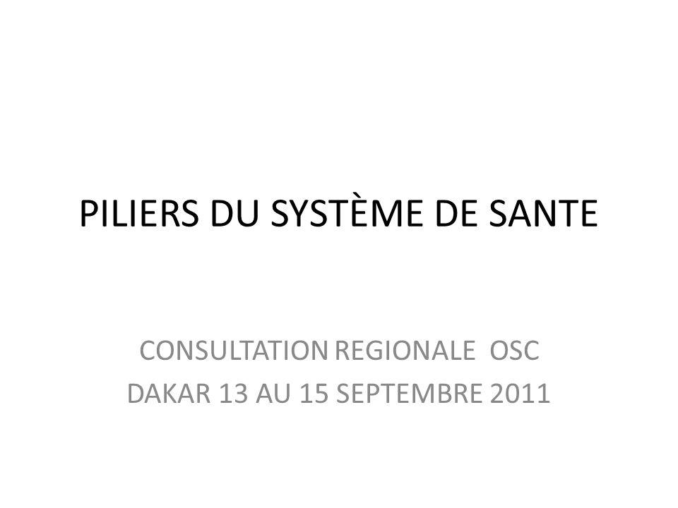 PILIERS DU SYSTÈME DE SANTE CONSULTATION REGIONALE OSC DAKAR 13 AU 15 SEPTEMBRE 2011