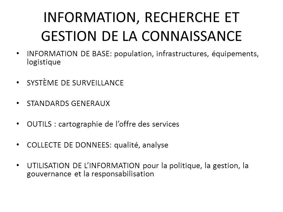 INFORMATION, RECHERCHE ET GESTION DE LA CONNAISSANCE INFORMATION DE BASE: population, infrastructures, équipements, logistique SYSTÈME DE SURVEILLANCE