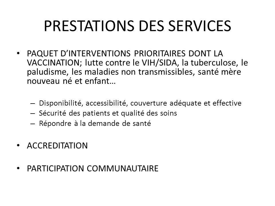 PRESTATIONS DES SERVICES PAQUET DINTERVENTIONS PRIORITAIRES DONT LA VACCINATION; lutte contre le VIH/SIDA, la tuberculose, le paludisme, les maladies