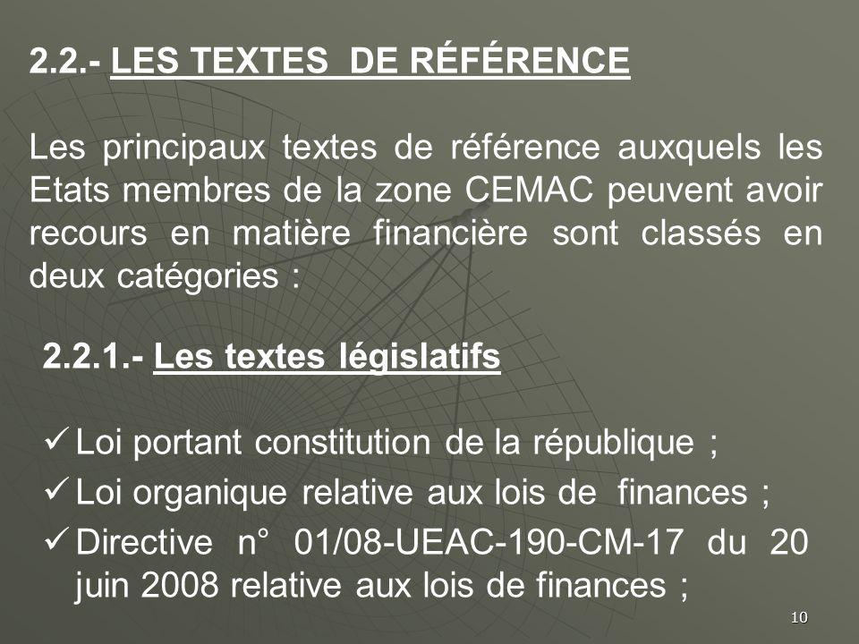 10 2.2.- LES TEXTES DE RÉFÉRENCE Les principaux textes de référence auxquels les Etats membres de la zone CEMAC peuvent avoir recours en matière finan
