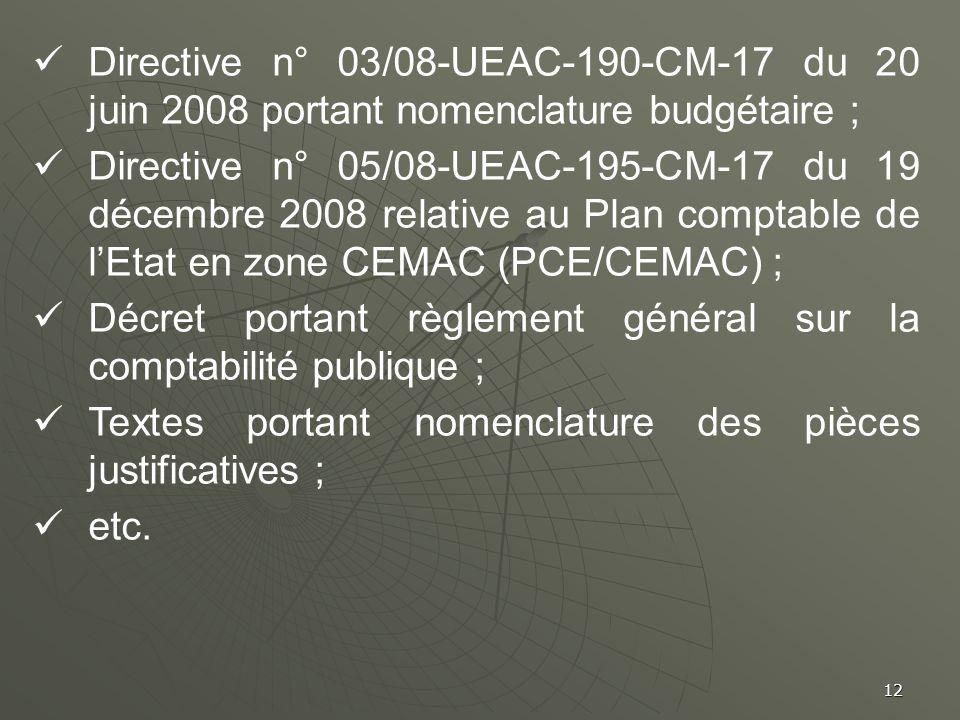 12 Directive n° 03/08-UEAC-190-CM-17 du 20 juin 2008 portant nomenclature budgétaire ; Directive n° 05/08-UEAC-195-CM-17 du 19 décembre 2008 relative
