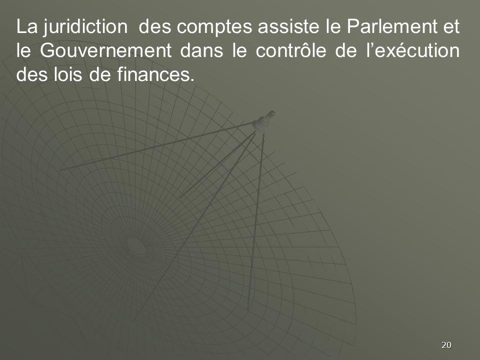 20 La juridiction des comptes assiste le Parlement et le Gouvernement dans le contrôle de lexécution des lois de finances.