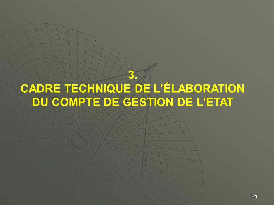 21 3. CADRE TECHNIQUE DE L'ÉLABORATION DU COMPTE DE GESTION DE L'ETAT