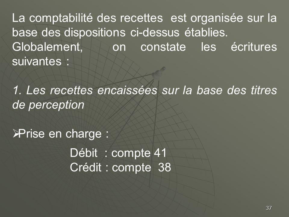 37 La comptabilité des recettes est organisée sur la base des dispositions ci-dessus établies. Globalement, on constate les écritures suivantes : 1. L