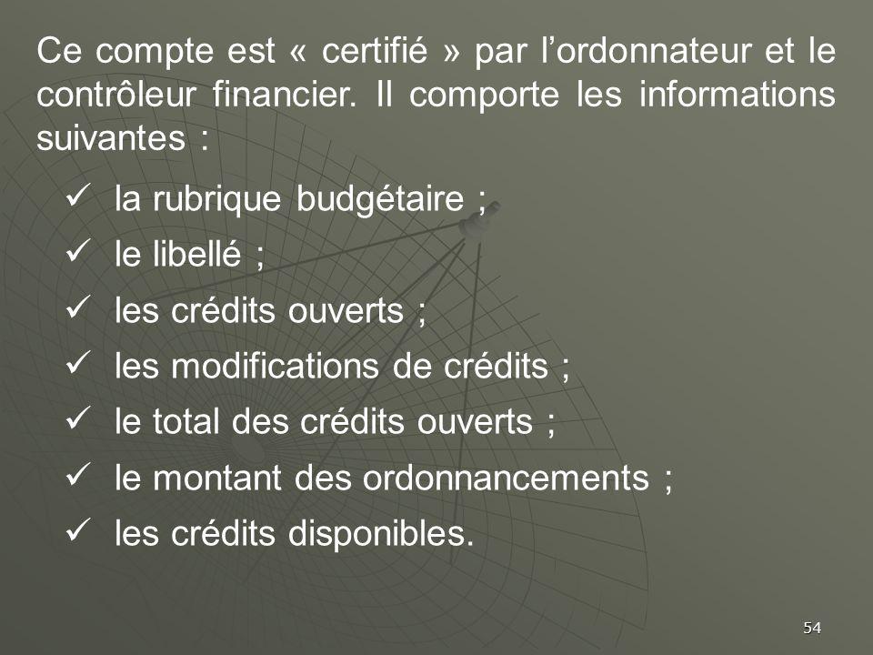 54 Ce compte est « certifié » par lordonnateur et le contrôleur financier. Il comporte les informations suivantes : la rubrique budgétaire ; le libell