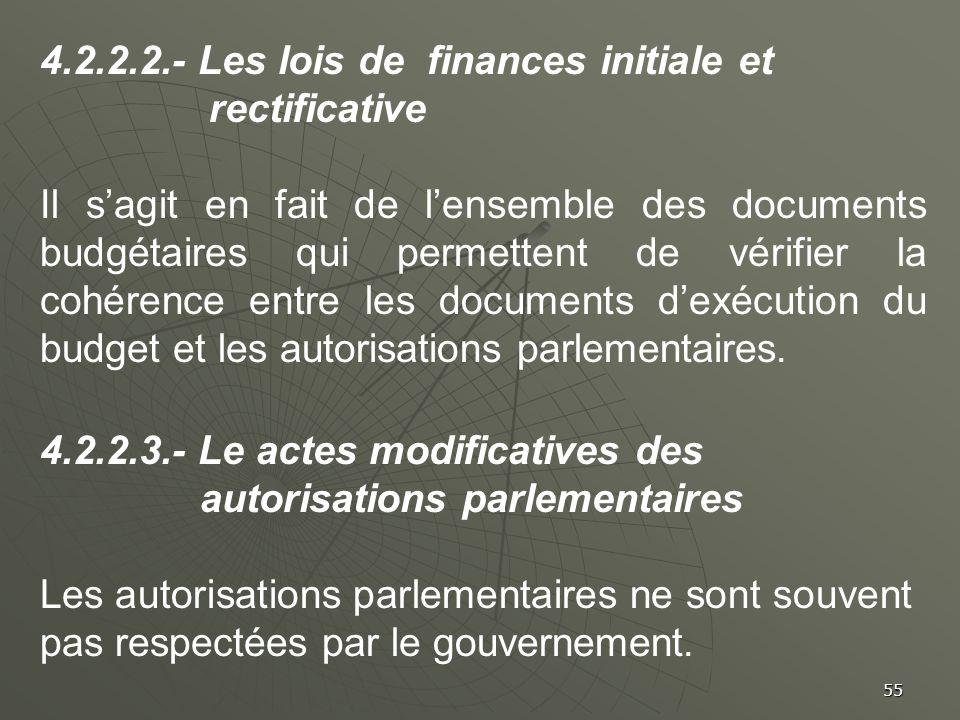 55 4.2.2.2.- Les lois de finances initiale et rectificative Il sagit en fait de lensemble des documents budgétaires qui permettent de vérifier la cohé