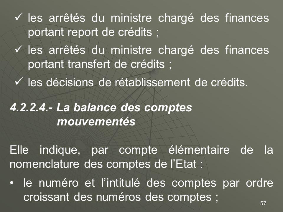 57 les arrêtés du ministre chargé des finances portant report de crédits ; les arrêtés du ministre chargé des finances portant transfert de crédits ;