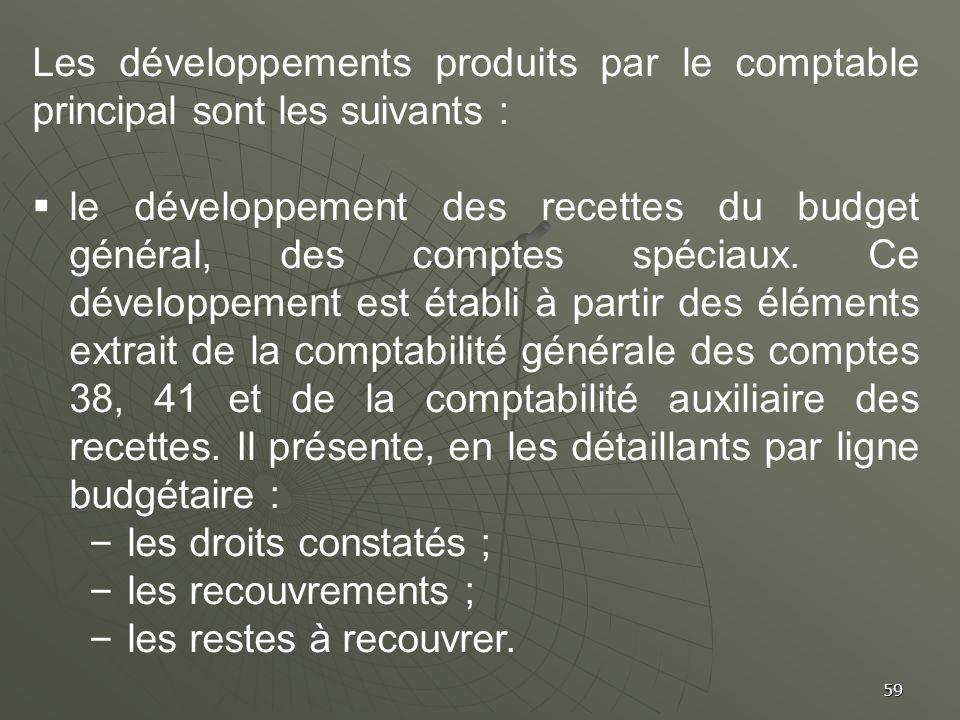 59 Les développements produits par le comptable principal sont les suivants : le développement des recettes du budget général, des comptes spéciaux. C