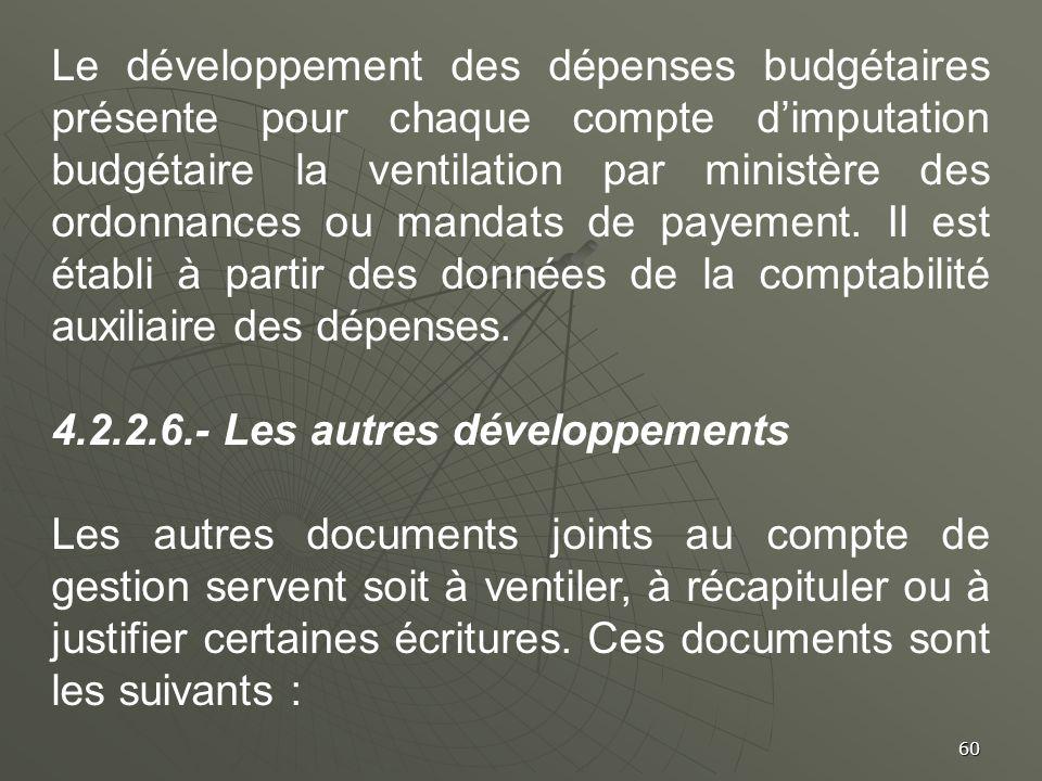 60 Le développement des dépenses budgétaires présente pour chaque compte dimputation budgétaire la ventilation par ministère des ordonnances ou mandat