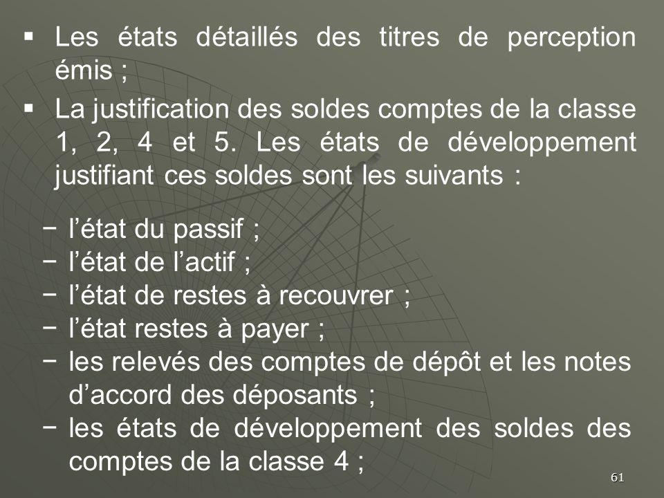 61 Les états détaillés des titres de perception émis ; La justification des soldes comptes de la classe 1, 2, 4 et 5. Les états de développement justi