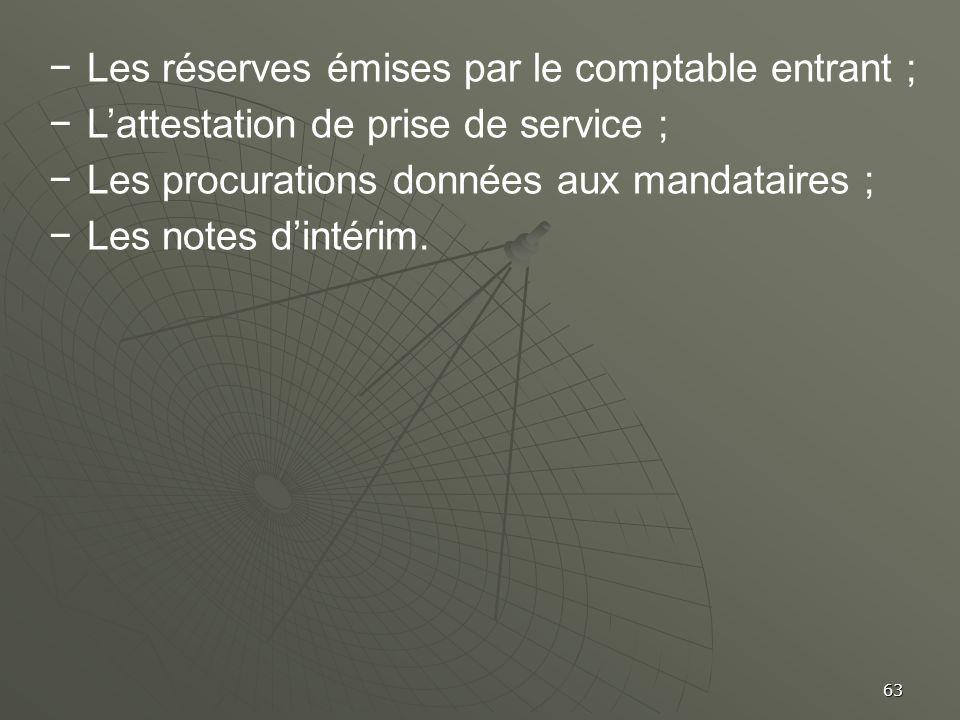 63 Les réserves émises par le comptable entrant ; Lattestation de prise de service ; Les procurations données aux mandataires ; Les notes dintérim.