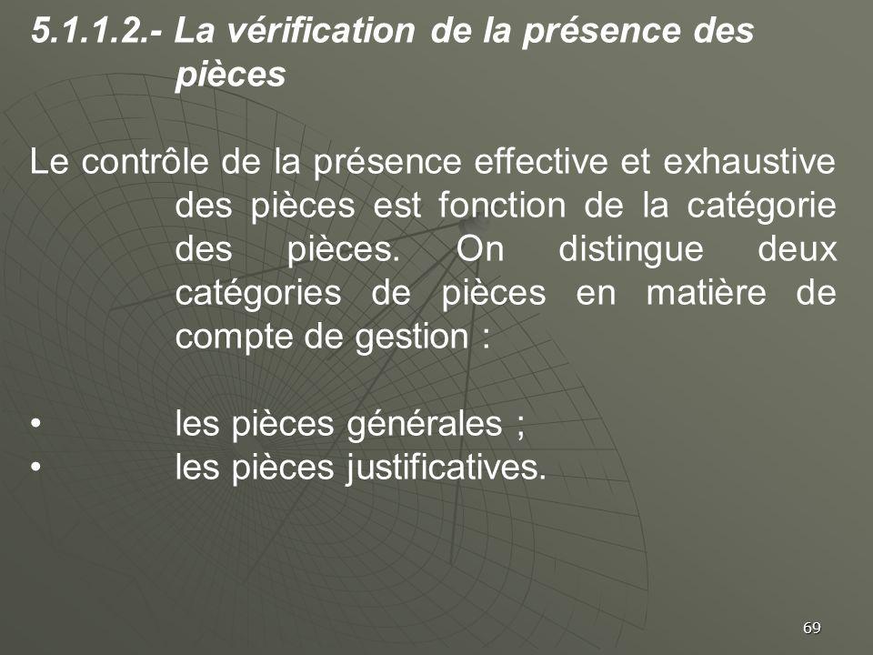 69 5.1.1.2.- La vérification de la présence des pièces Le contrôle de la présence effective et exhaustive des pièces est fonction de la catégorie des