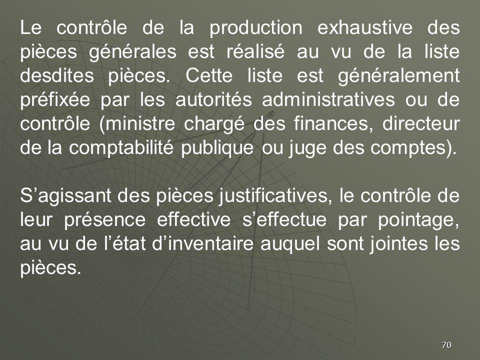 70 Le contrôle de la production exhaustive des pièces générales est réalisé au vu de la liste desdites pièces. Cette liste est généralement préfixée p