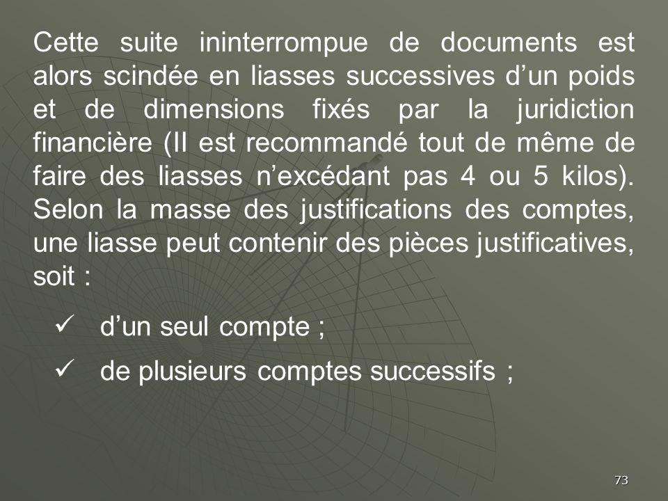 73 Cette suite ininterrompue de documents est alors scindée en liasses successives dun poids et de dimensions fixés par la juridiction financière (II