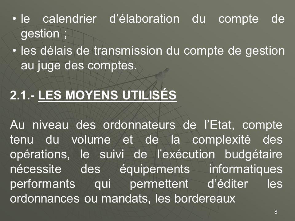 8 le calendrier délaboration du compte de gestion ; les délais de transmission du compte de gestion au juge des comptes. 2.1.- LES MOYENS UTILISÉS Au