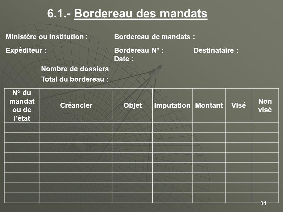 84 Ministère ou Institution :Bordereau de mandats : Expéditeur :Bordereau N° :Destinataire : Date : Nombre de dossiers Total du bordereau : N° du mand