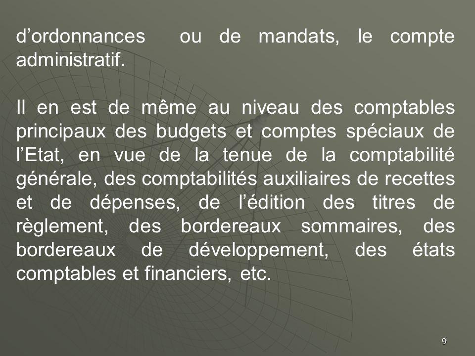 9 dordonnances ou de mandats, le compte administratif. Il en est de même au niveau des comptables principaux des budgets et comptes spéciaux de lEtat,