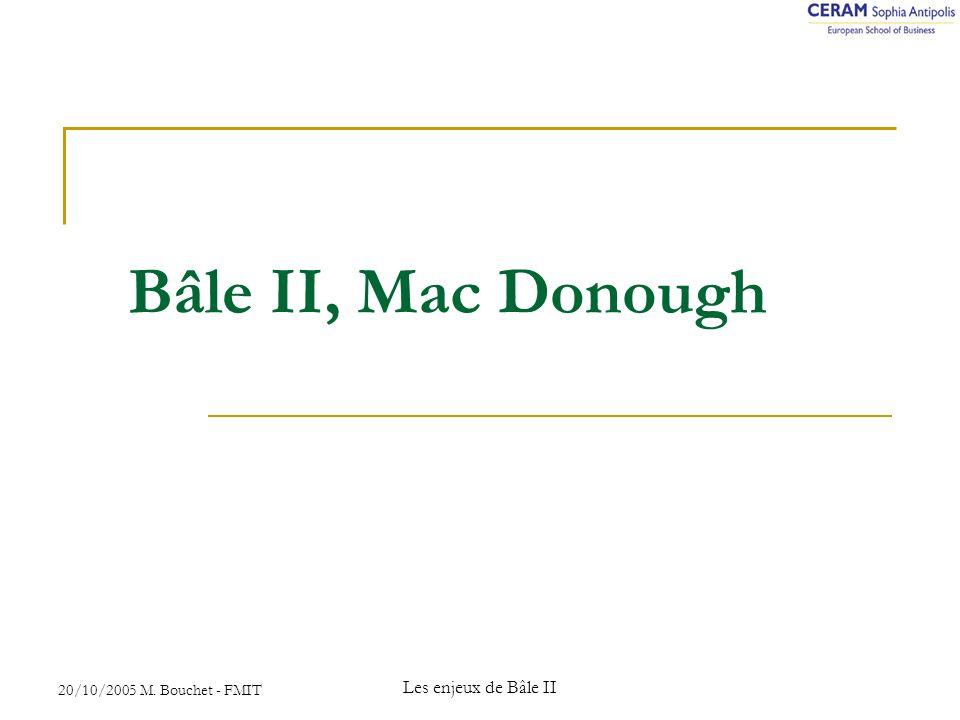 20/10/2005 M. Bouchet - FMIT Les enjeux de Bâle II Bâle II, Mac Donough