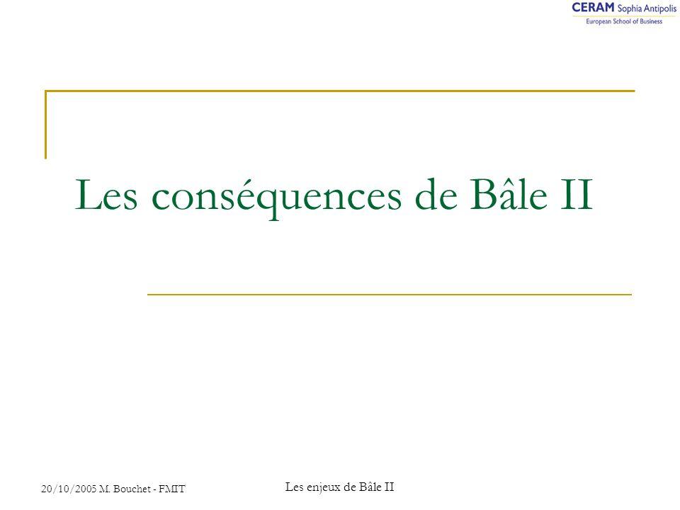 20/10/2005 M. Bouchet - FMIT Les enjeux de Bâle II Les conséquences de Bâle II