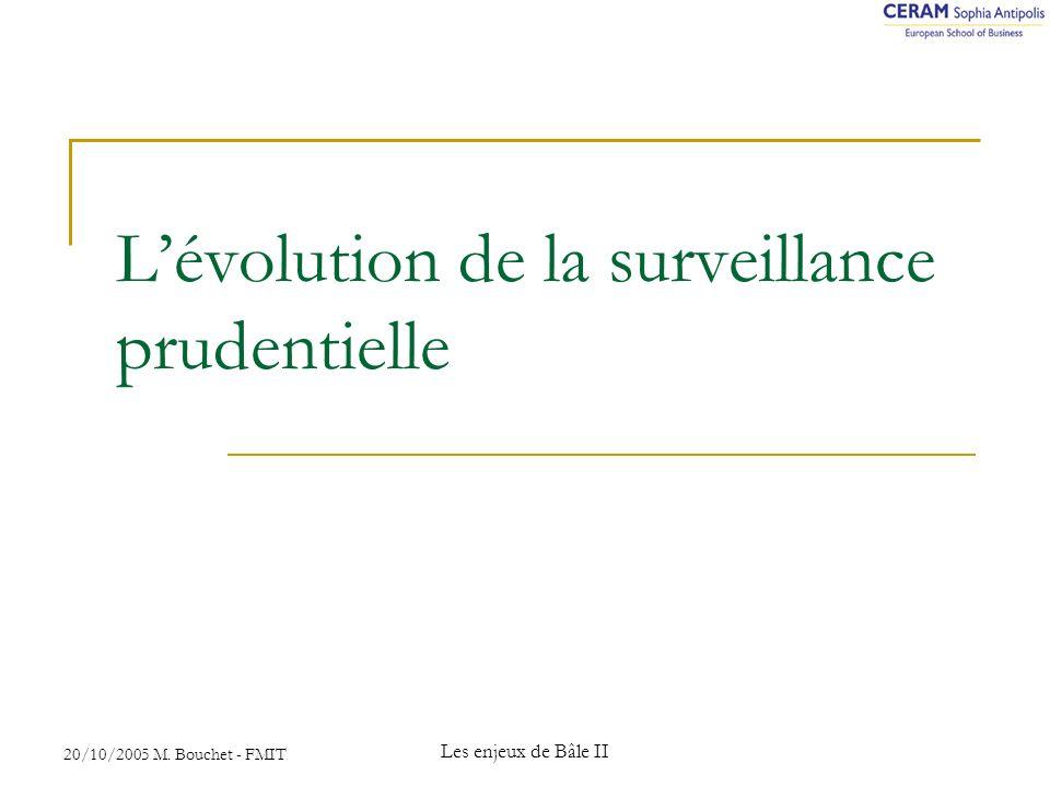 20/10/2005 M. Bouchet - FMIT Les enjeux de Bâle II Lévolution de la surveillance prudentielle
