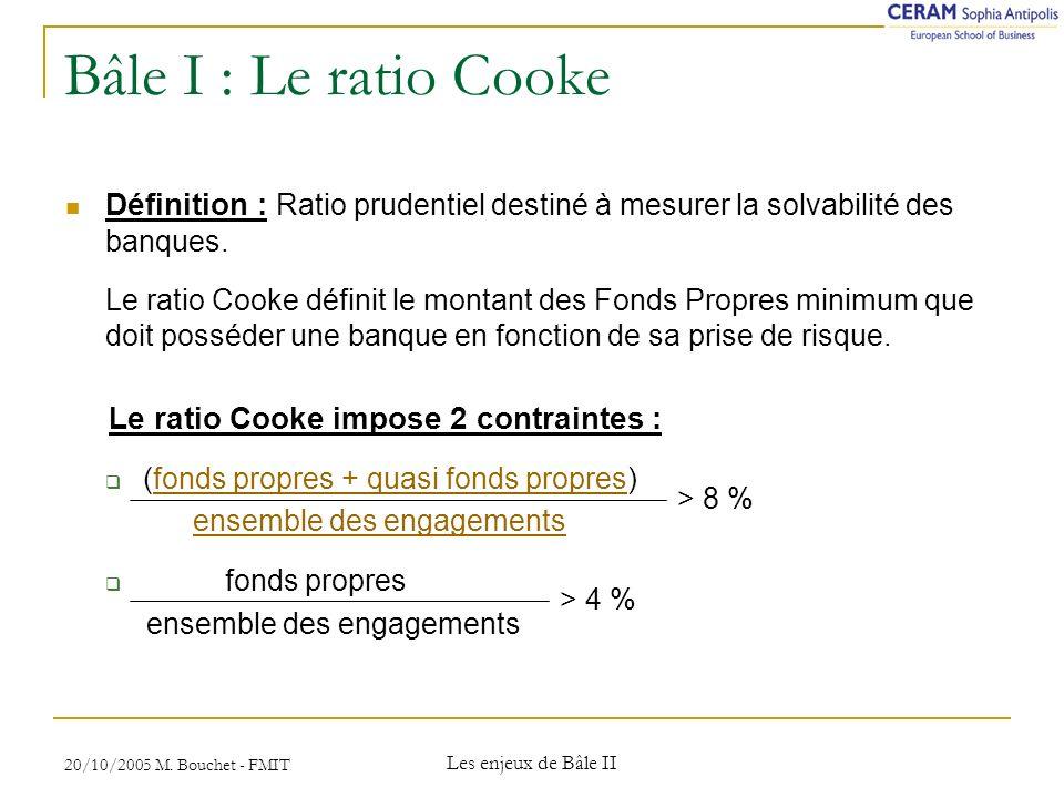 20/10/2005 M. Bouchet - FMIT Les enjeux de Bâle II Conséquences de Bâle 2 : Tableau 4