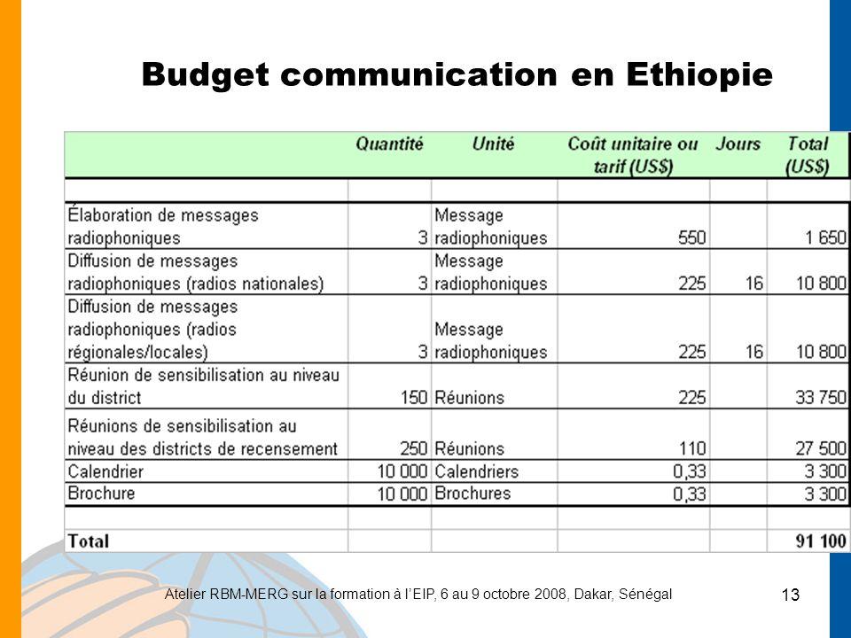 Atelier RBM-MERG sur la formation à lEIP, 6 au 9 octobre 2008, Dakar, Sénégal 13 Budget communication en Ethiopie