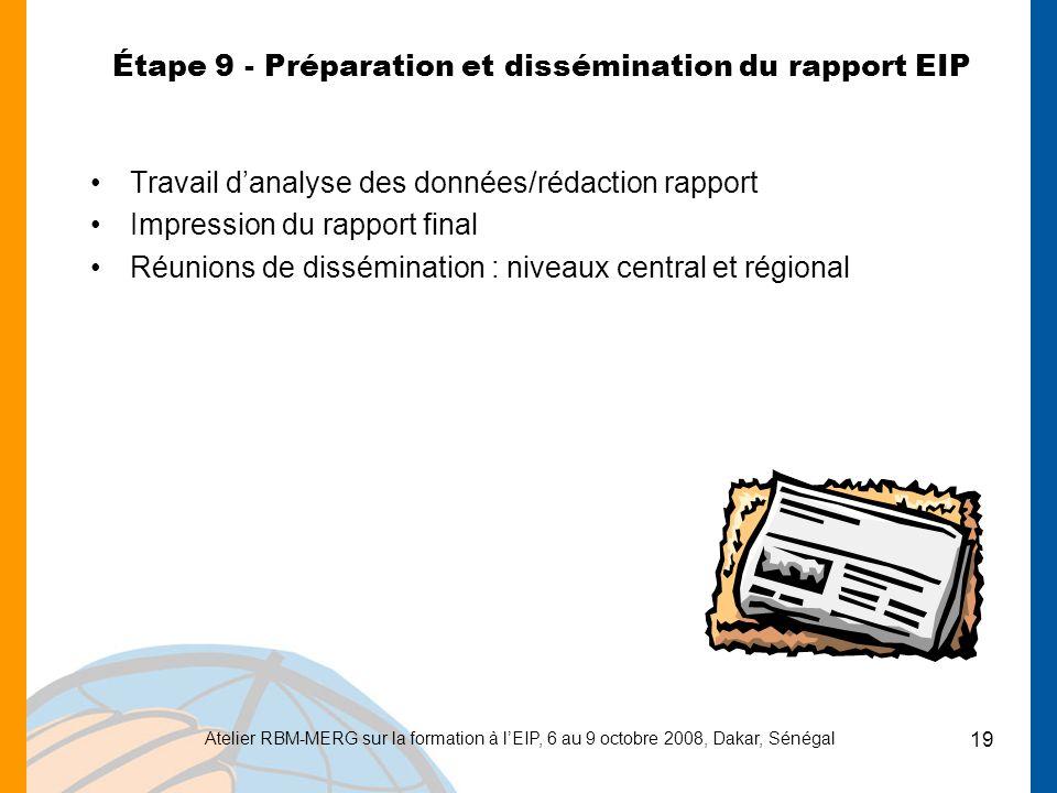 Atelier RBM-MERG sur la formation à lEIP, 6 au 9 octobre 2008, Dakar, Sénégal 19 Étape 9 - Préparation et dissémination du rapport EIP Travail danalys
