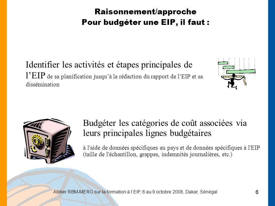Atelier RBM-MERG sur la formation à lEIP, 6 au 9 octobre 2008, Dakar, Sénégal 6 Raisonnement/approche Pour budgéter une EIP, il faut : Identifier les