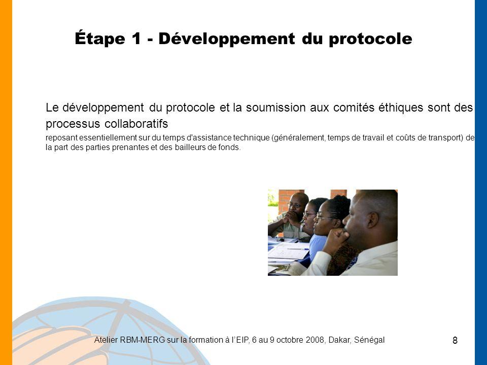 Atelier RBM-MERG sur la formation à lEIP, 6 au 9 octobre 2008, Dakar, Sénégal 19 Étape 9 - Préparation et dissémination du rapport EIP Travail danalyse des données/rédaction rapport Impression du rapport final Réunions de dissémination : niveaux central et régional